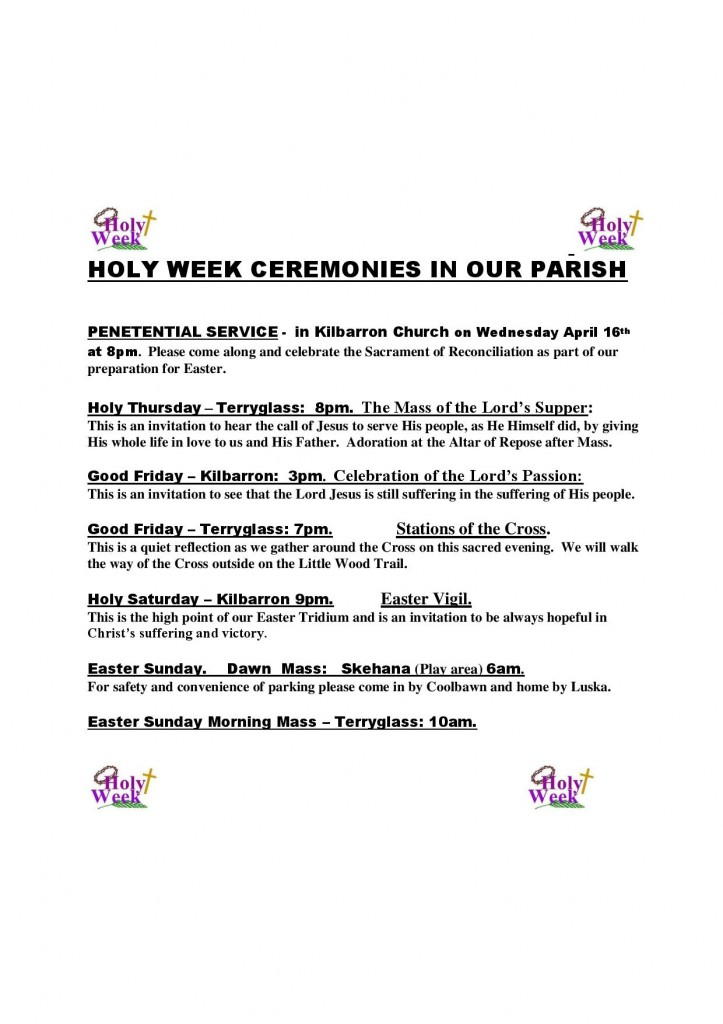 HOLY WEEK CEREMONIES IN OUR PARISH