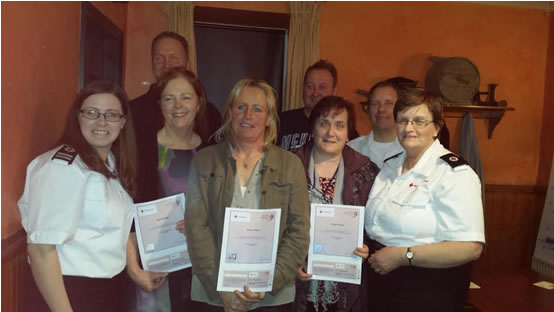 Recently trained volunteers who received their Emergency First Responder certificates – James Mulvihill, Michael O'Meara, Jane Hannigan, Tess O'Meara, Margaret Dunne.  Pictured also is Irish Red Cross trainer Caroline Prout, who was assisted by members Peter Armstrong and Mary Prout.
